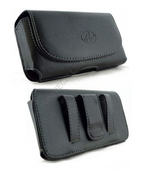 leather sideways horizontal belt clip pouch cover for
