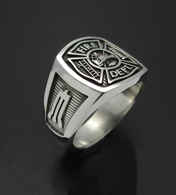 sterling silver masonic firemans ring with oxidized finish