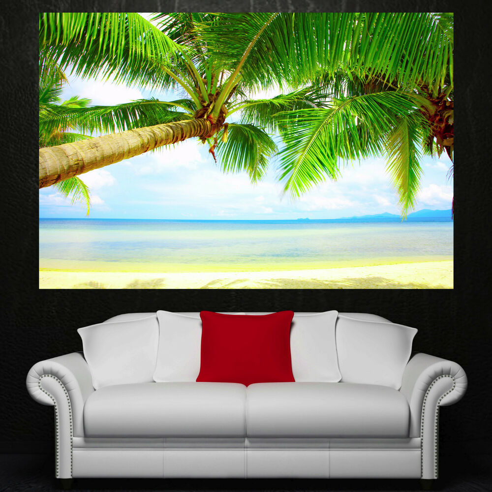 Beach palm tree sky canvas home decor wall art prints for Palm tree decorations for the home