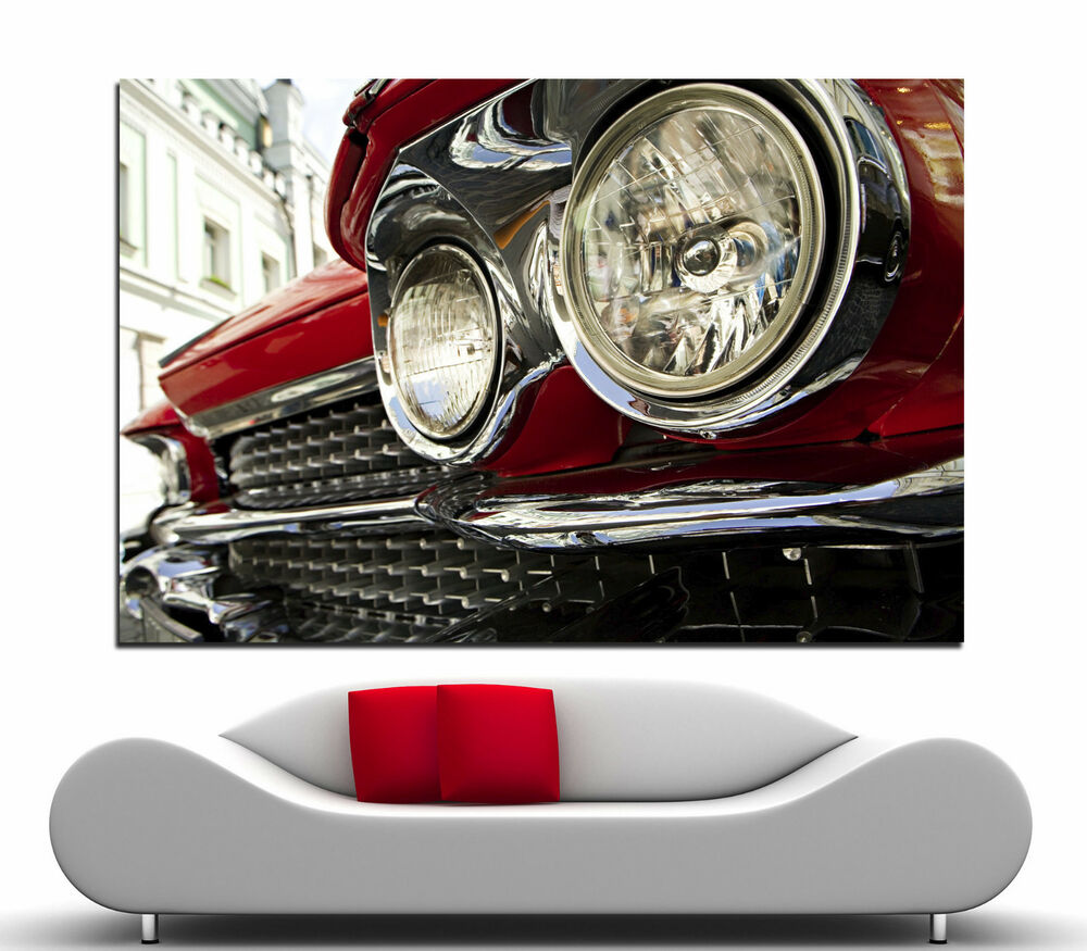 classic red car head light canvas wall art prints cars photo print decor cars 2 ebay. Black Bedroom Furniture Sets. Home Design Ideas