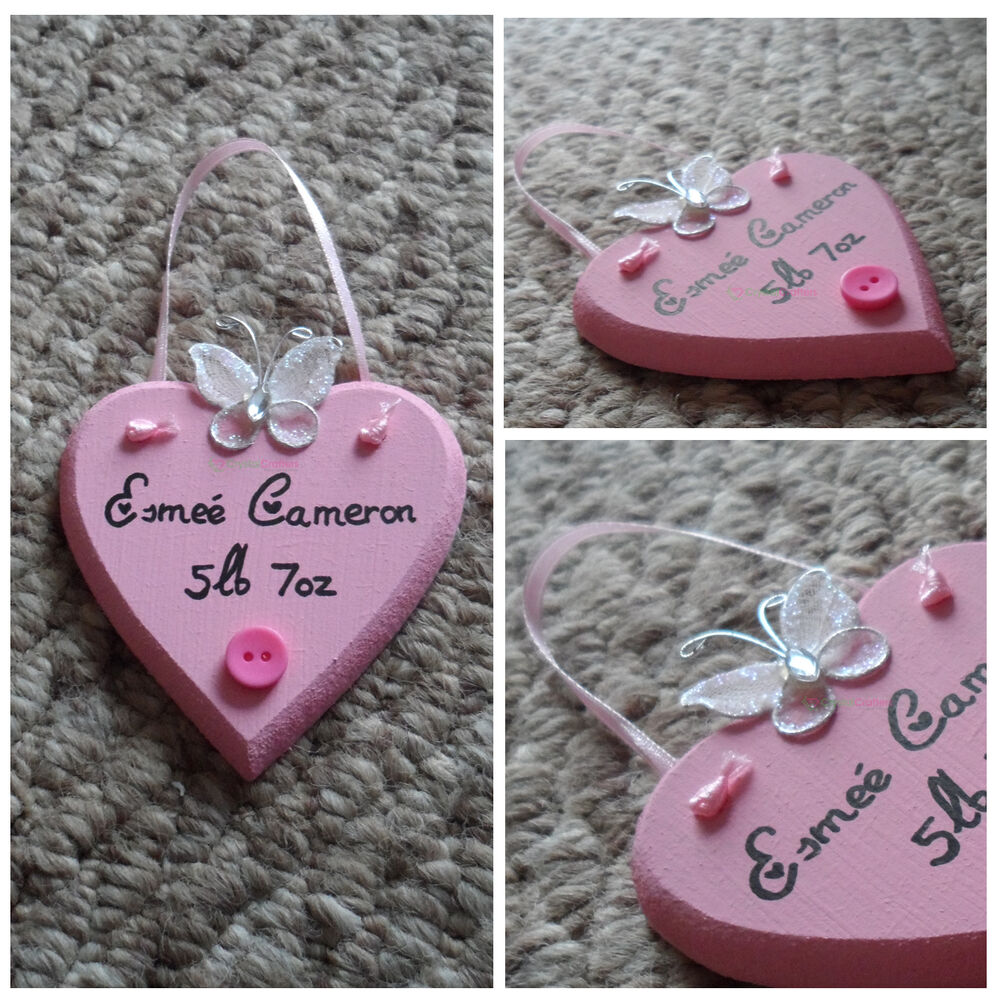Personalised Wooden Heart 7cm Handmade Christening Birthday Gift