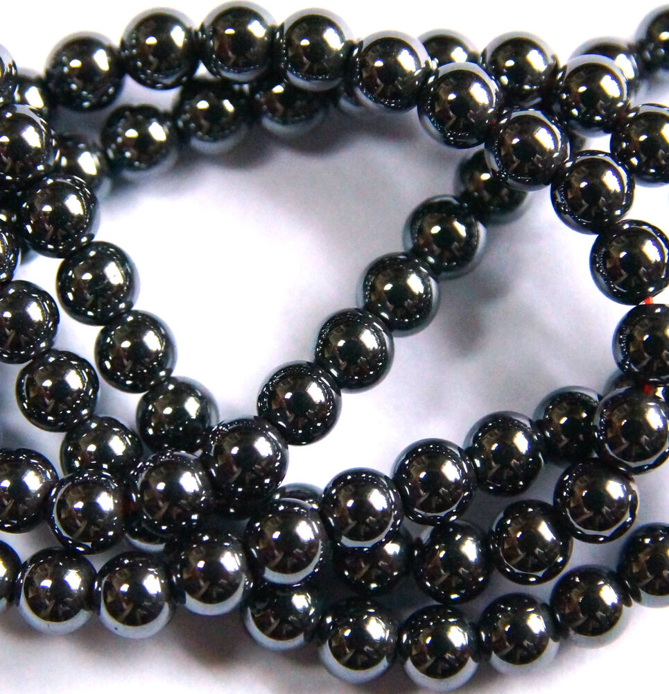 100 x HEMATITE BEADS, BLACK ROUND, NON MAGNETIC, 4 MM