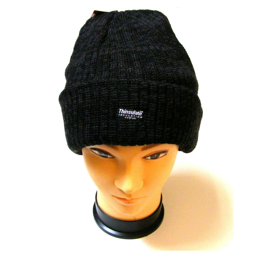 104f83cb5e9 Details about MENS BLACK HEAVY KNITTED CHUNKY BEANIE HAT WITH THERMAL  THINSULATE INSULATION