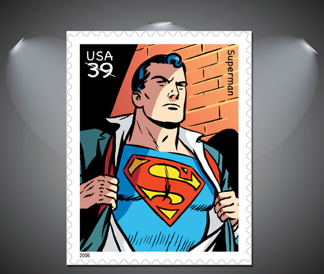vintage superman stamp poster art a1 a2 a3 a4 sizes
