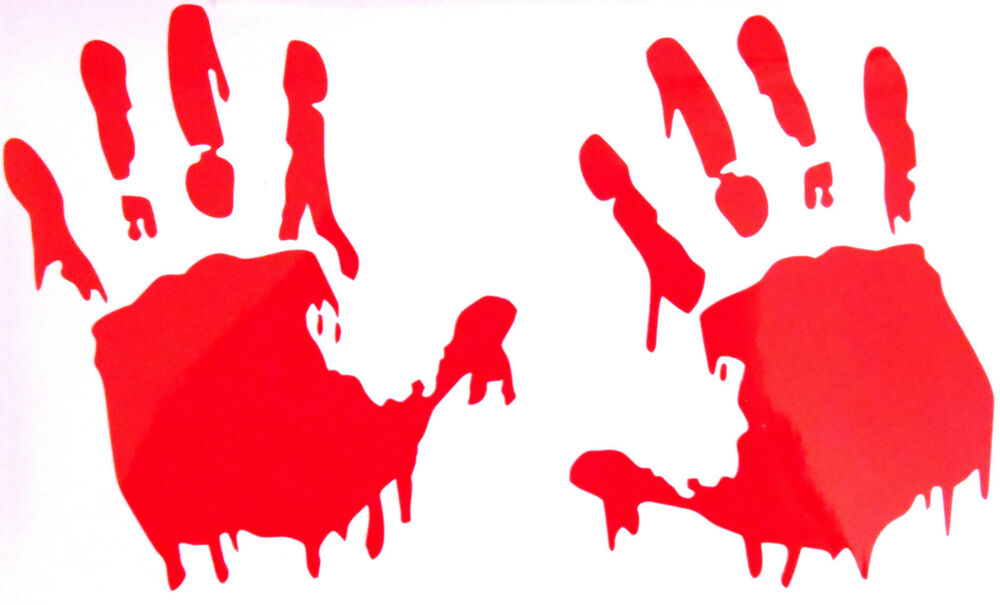 Halloween Gothic Bloody Handprint, Hand Prints Wall