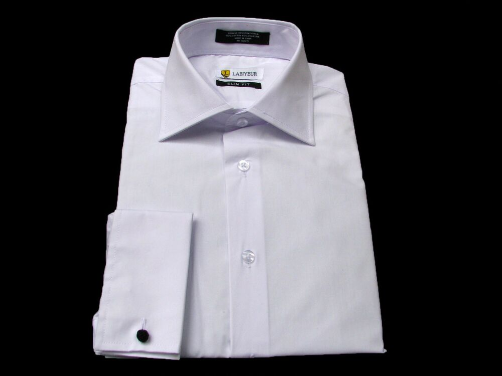 French Cuffs Dress Shirt White With Free Black Knot