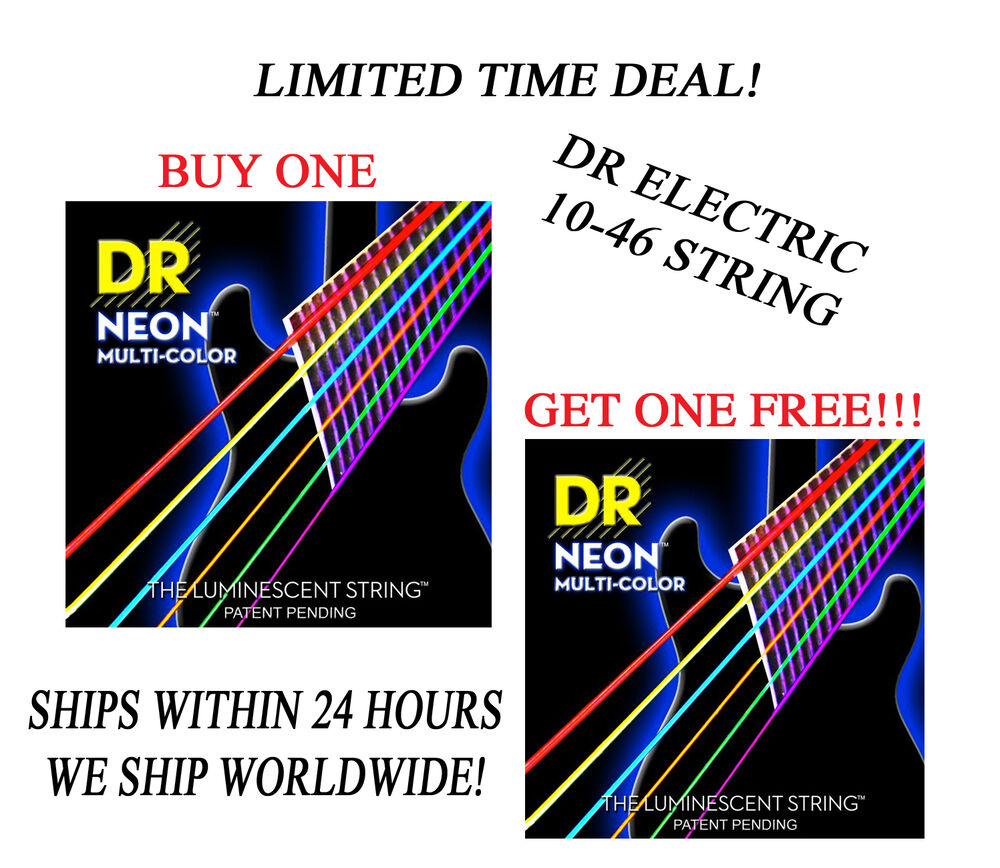 dr hi def neon multi color electric guitar strings 10 46 buy 1 get 1 free 600781005418 ebay. Black Bedroom Furniture Sets. Home Design Ideas