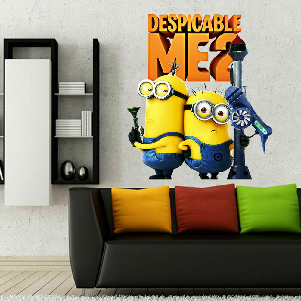 minion room decor 2 minions despicable me 2 removable wall stickers wall 12408