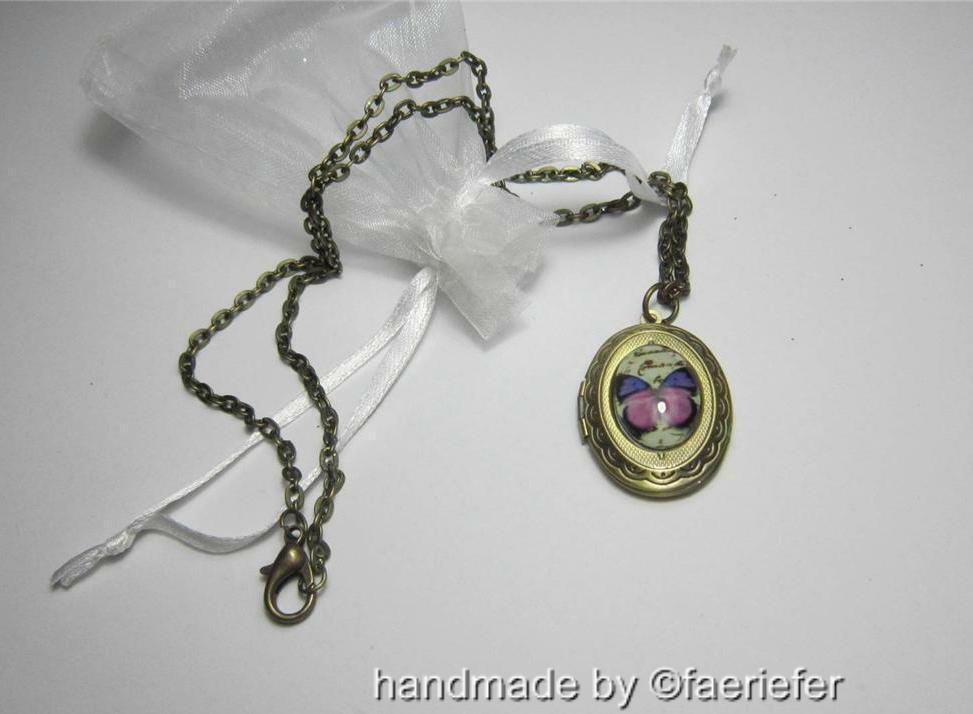 Vintage Style Bronze Locket With Glass Butterfly Design Necklace Opens Ebay