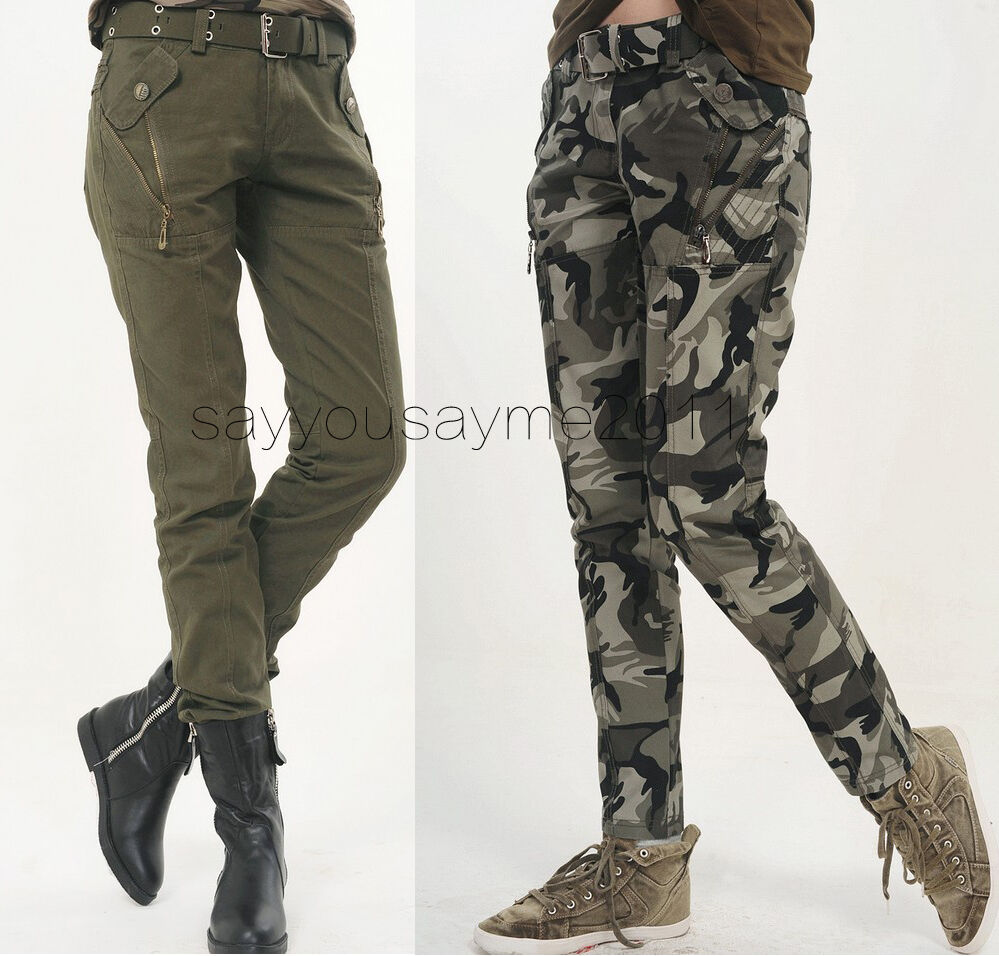 Details about Women's Camo Cargo Trousers Casual Pants Military Army Combat Camouflage Pants.