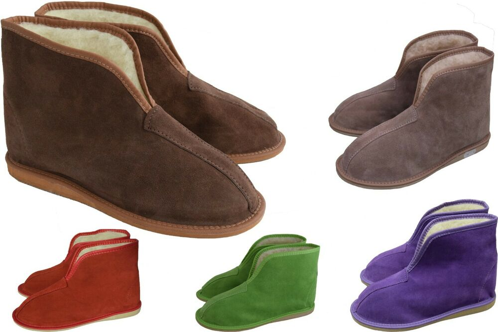 womens mens unisex suede leather and sheep s wool slipper