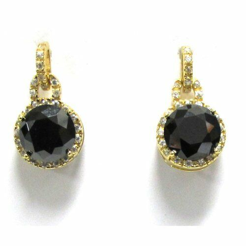 Black And White Cz Yellow Gold Tone Sterling Silver Lock
