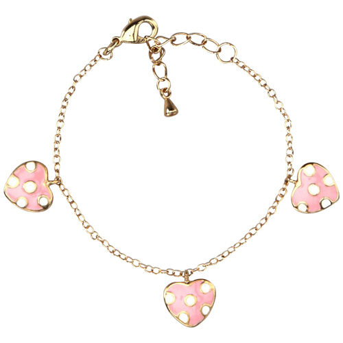 gold tone pink white enamel hearts baby charm