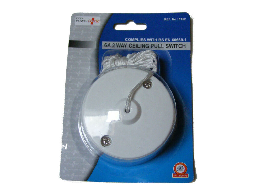 White 6a Two Way Ceiling Switch Bathroom Pull Cord Switch