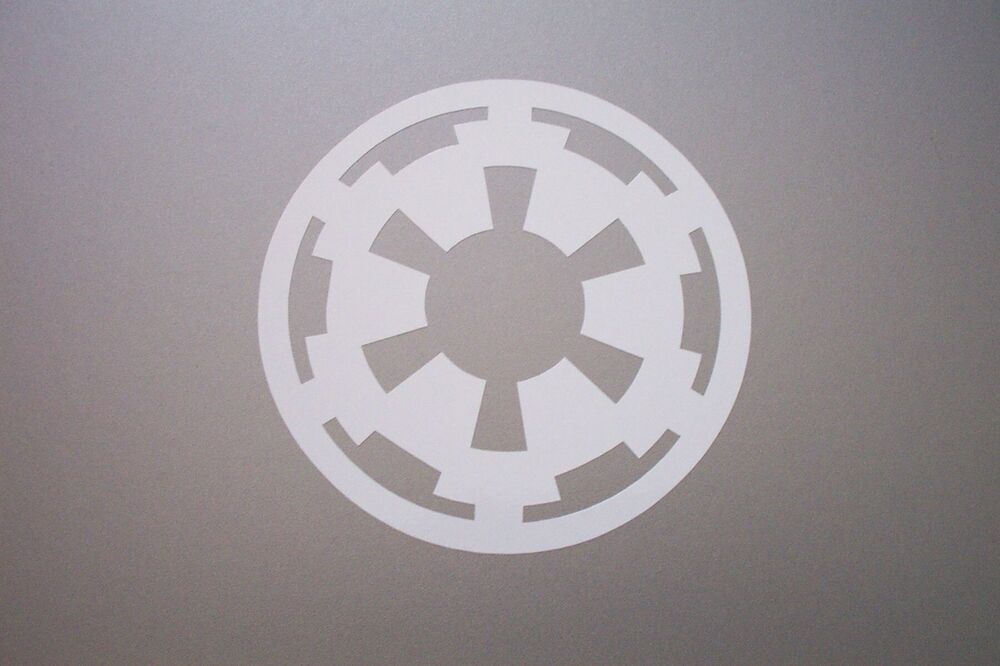 imperial logo vinyl decal sticker star wars white 8 ebay. Black Bedroom Furniture Sets. Home Design Ideas