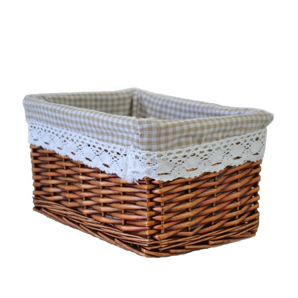 Willow Wicker Storage Basket With Liner For Home