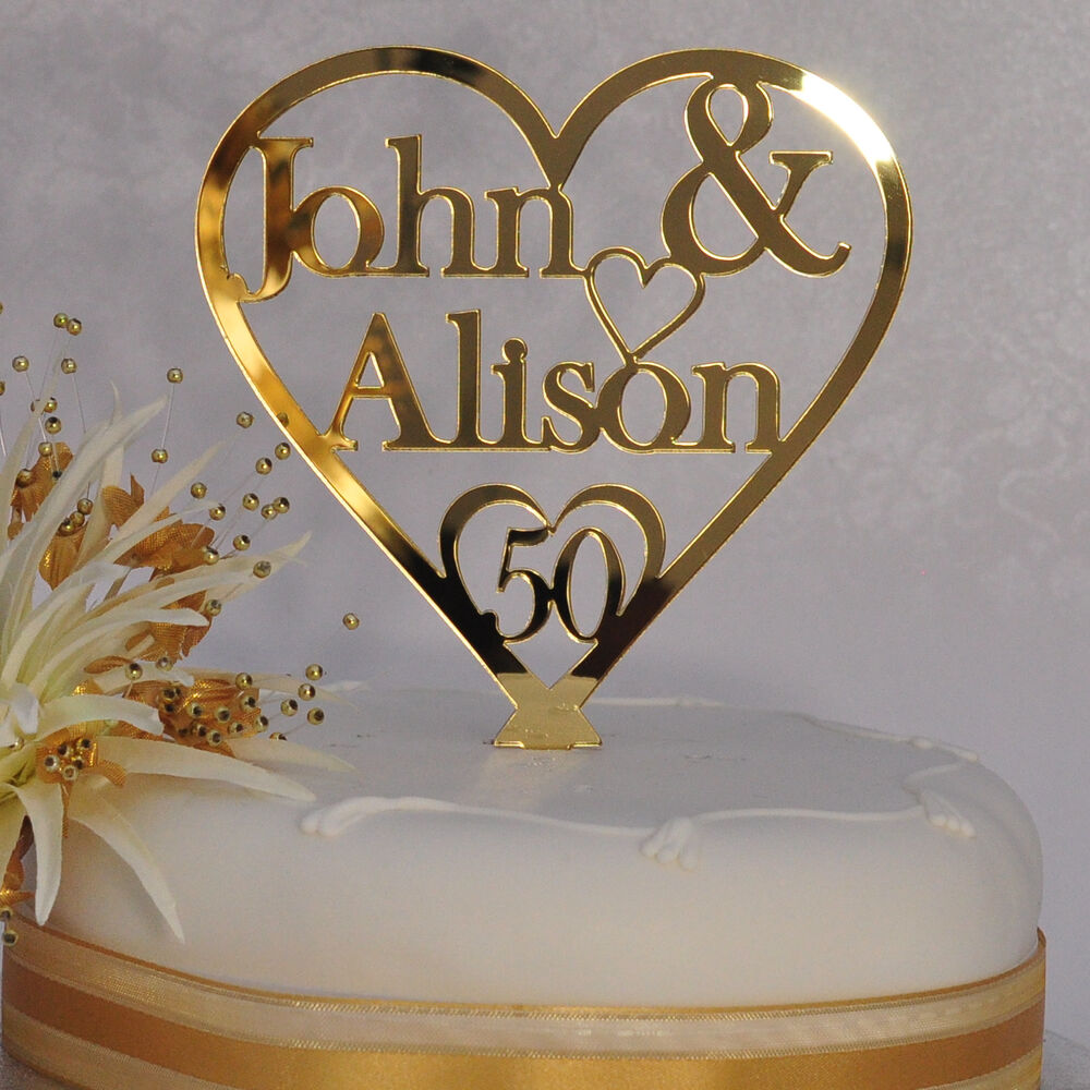 Personalised names heart cake topper th golden