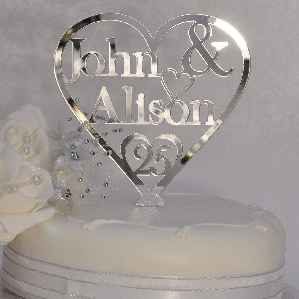 Personalised names heart cake topper 25th silver for 25th wedding anniversary decoration