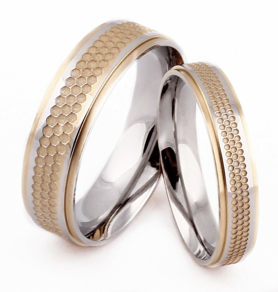 Couples promise ring gold silver 316l stainless steel for Wedding rings bands