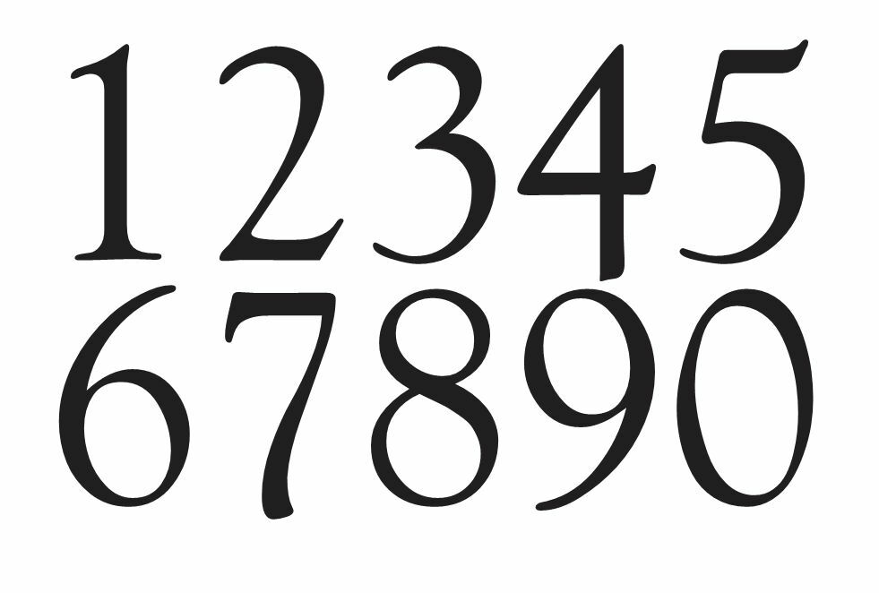 Goudy old style font numbers stencil 1 4 crafts for Classic house number fonts