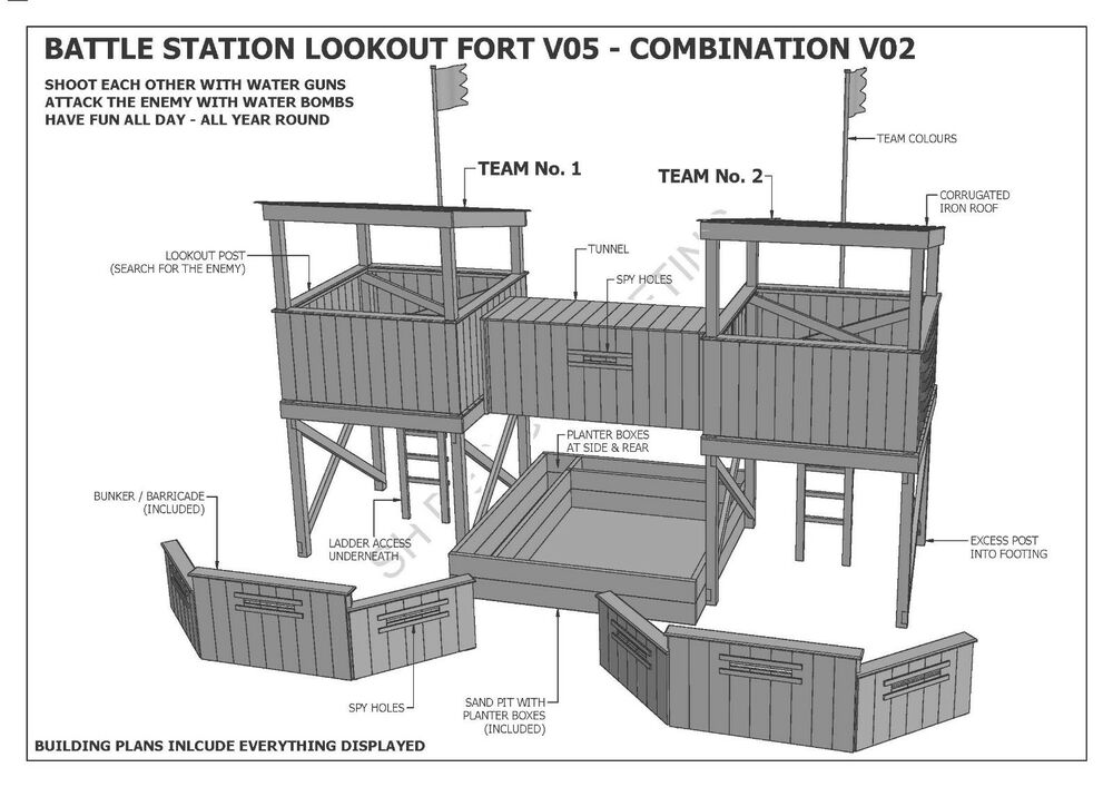 Cubby house fort sand pit combo v2 build with your for Build own house plans