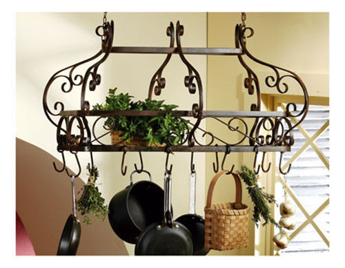 FRENCH OR TUSCAN SCROLL WROUGHT IRON HANGING POT RACK (NEW ...