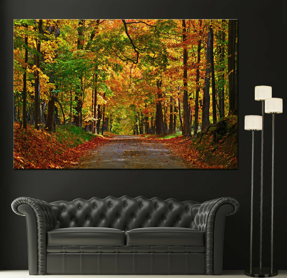 Canvas giclee wall art prints tree fall scene photo Colorful wall decor