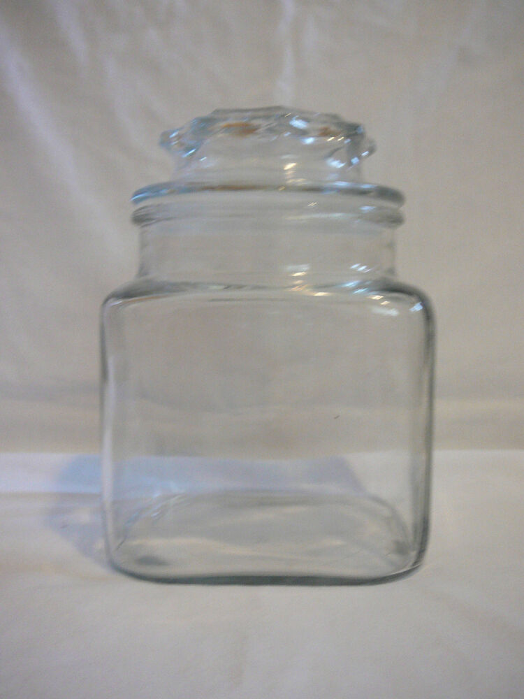"""Vintage 6.5"""" clear glass canister or apothecary jar with"""