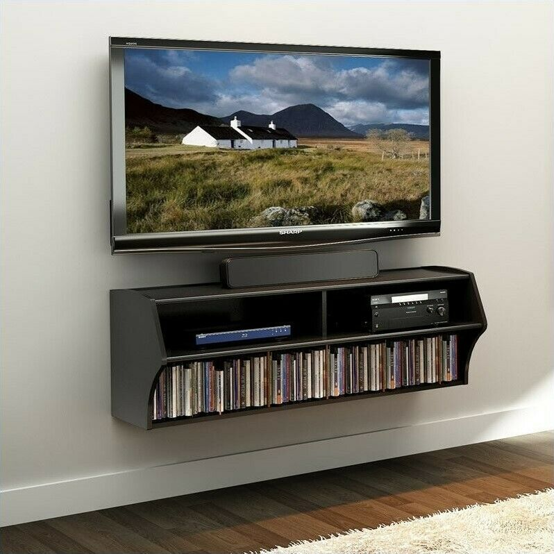 entertainment center floating floating tv console media. Black Bedroom Furniture Sets. Home Design Ideas