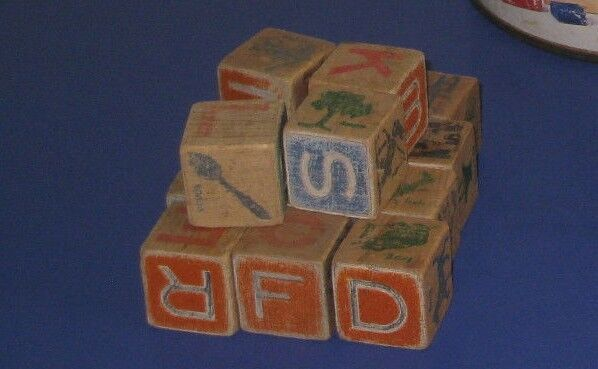 Vintage toy wooden building blocks great for play or for Wooden blocks craft supplies