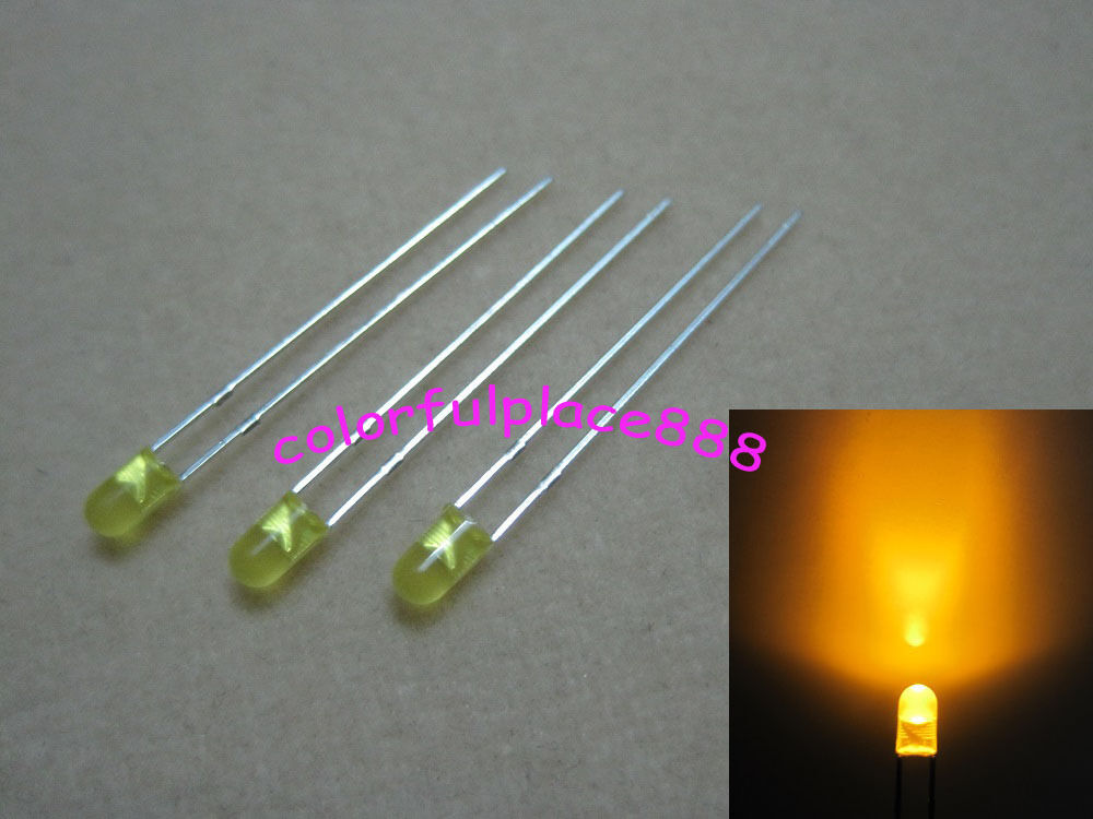 100pcs 3mm yellow diffused round flangeless bright led leds light resistors ebay. Black Bedroom Furniture Sets. Home Design Ideas