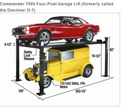 Dannmar commander 7000 4 post storage garage lift complete 4 car garage kit