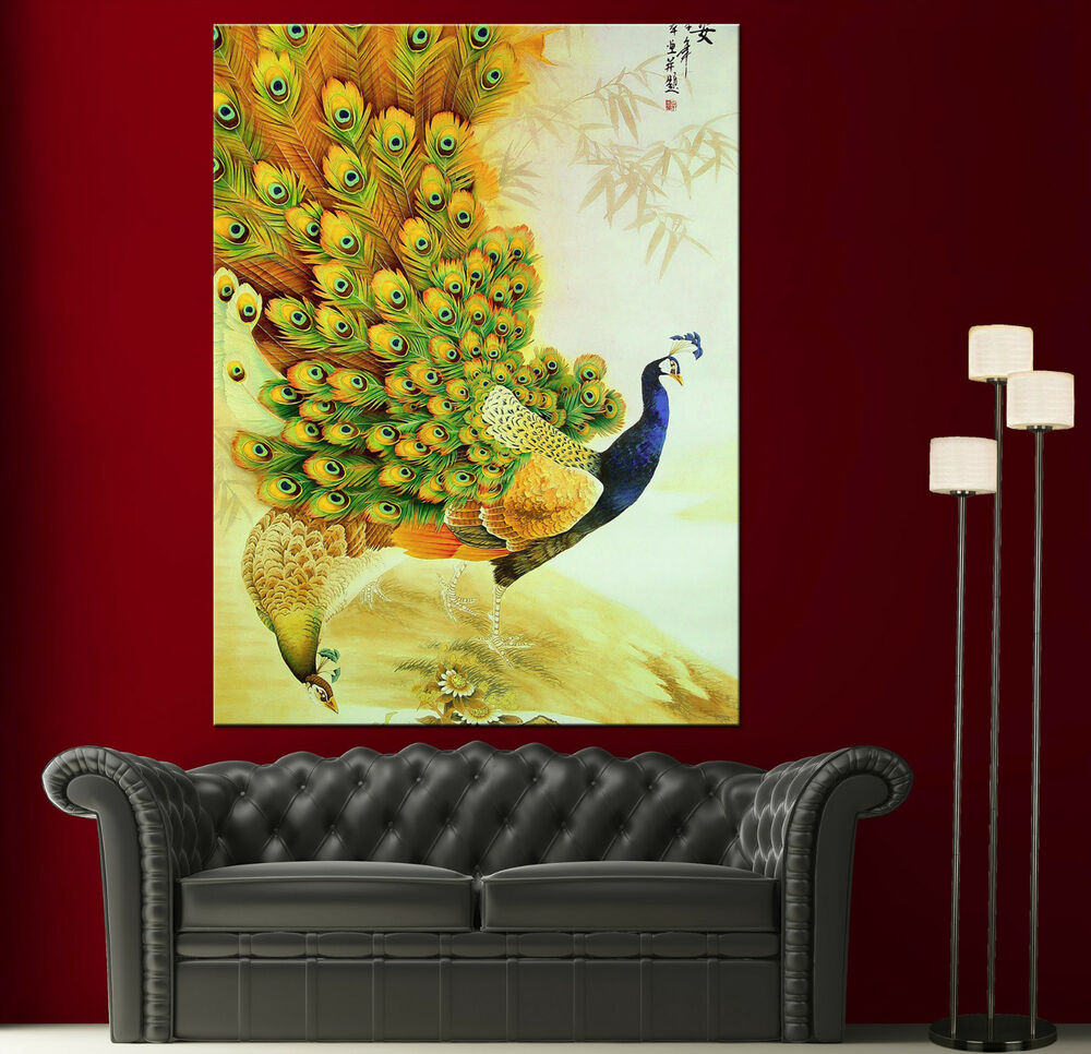 Japanese peacock painting canvas print wall art photo for Paintings for house decoration