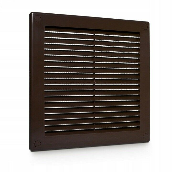 brown air vent grille 150mm x 150mm with anti inset mesh. Black Bedroom Furniture Sets. Home Design Ideas