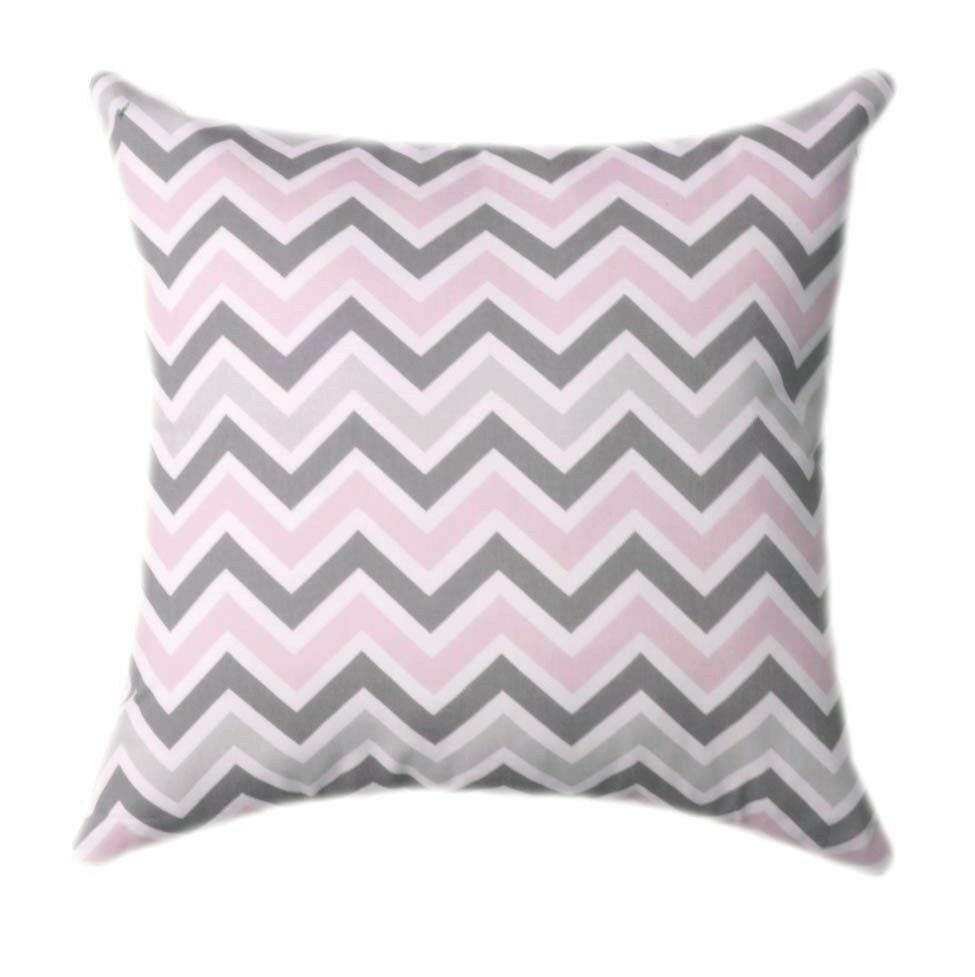 Soft And Elegant Gray And Pink Nursery: Soft Pink And Gray Pillow, Zoom Zoom Bella Pink Chevron
