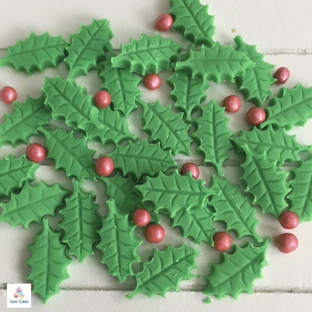 25 Edible Christmas Holly Leaves Berries Sugar Cake ...