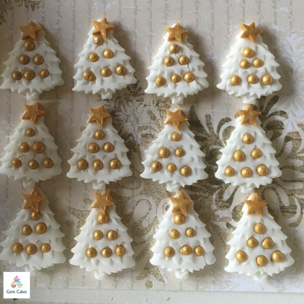 12 Edible Christmas Trees White & Gold Sugar Cupcake Cake ...