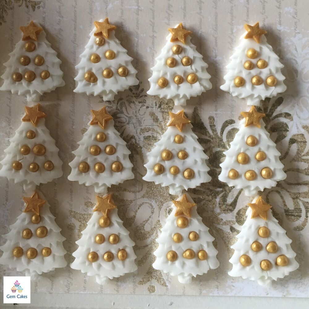 Cake Decorations Edible Photos : 12 Edible Christmas Trees White & Gold Sugar Cupcake Cake ...