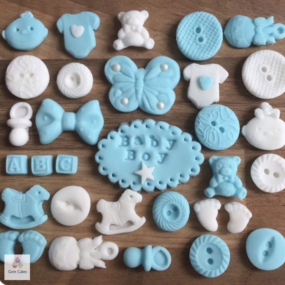 Cake Toppers Edible Uk : 32 Edible Blue Baby Boy Sugar Christening Shower Cake ...