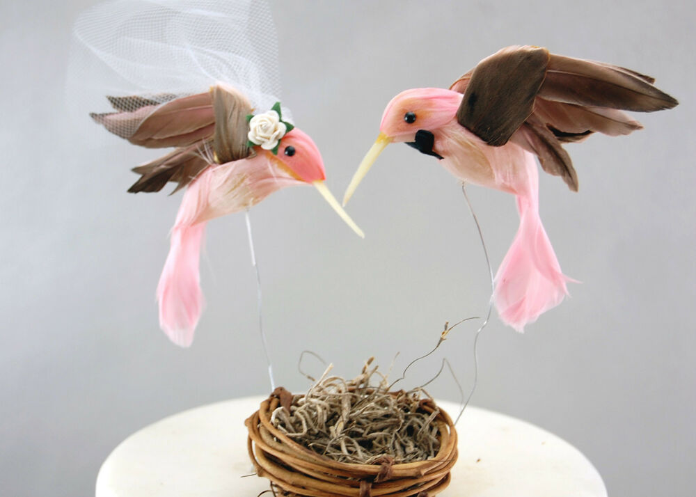 wedding cake toppers birds uk pink hummingbird wedding cake topper unique rustic 26398