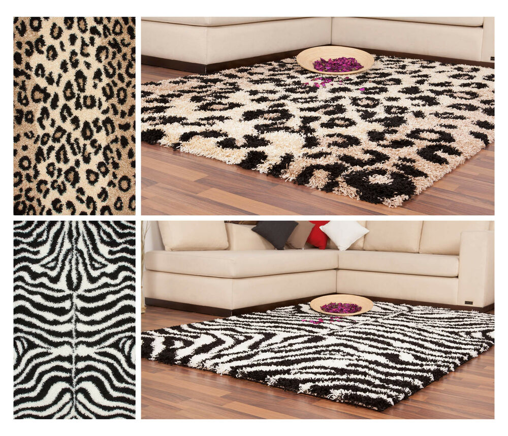 hochflor shaggy neu teppich moderne teppiche tier motiv zebra schwarz wei beige ebay. Black Bedroom Furniture Sets. Home Design Ideas