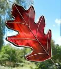 Red Oak Leaf Stained Glass Ornament suncatcher