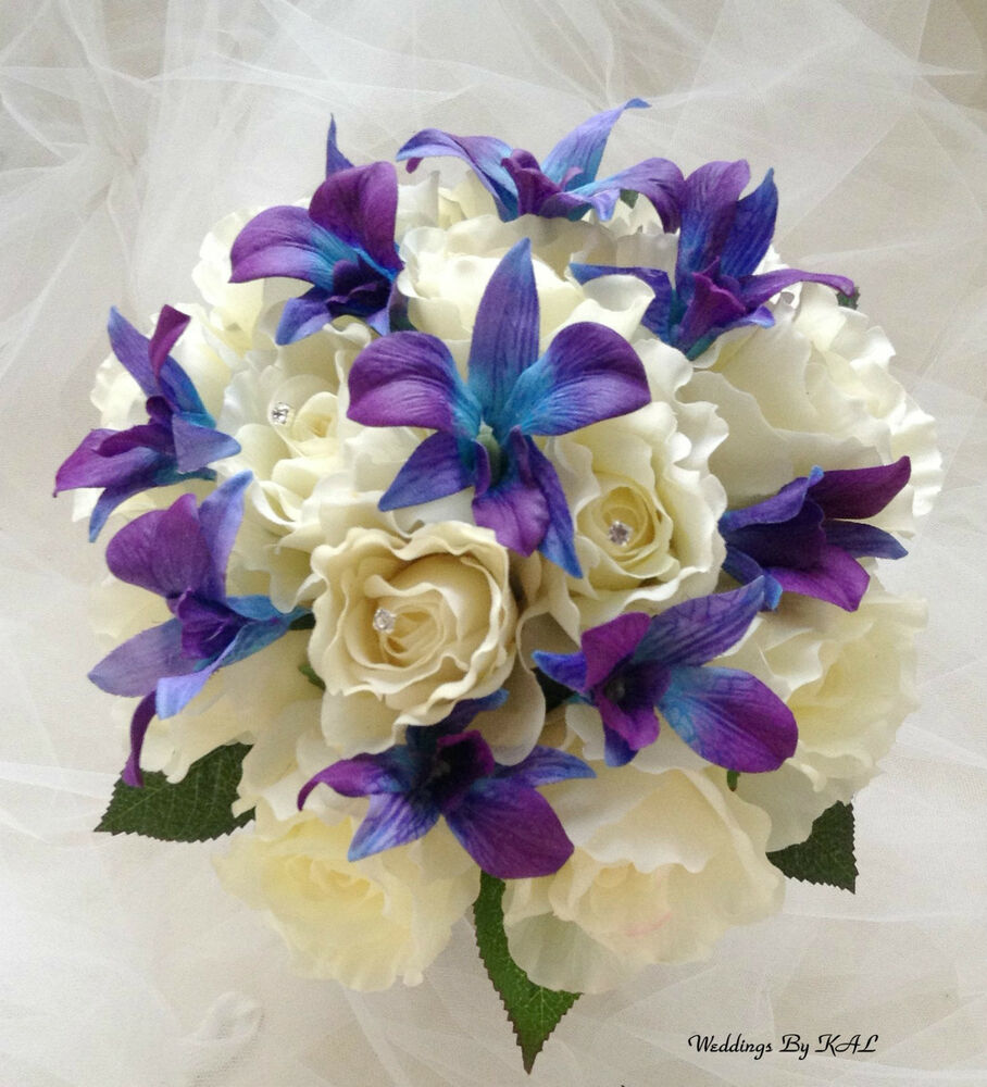 "Real Vs Fake Flowers Wedding: Blue Purple Orchids & Rose ""Real Touch"" Bridal Bouquet"
