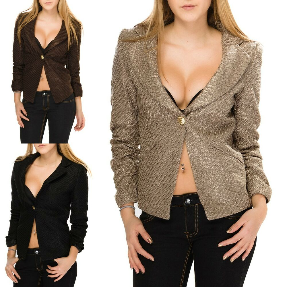 damen business casual blazer sakko jacke j ckchen warmer blazer rmel gekr uselt ebay. Black Bedroom Furniture Sets. Home Design Ideas