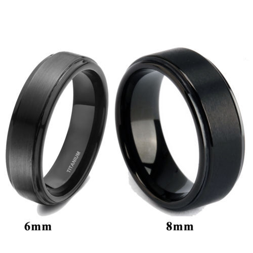 Solid Titanium Black Ring Brushed Men39;s Wedding Band Comfort Fit 6mm
