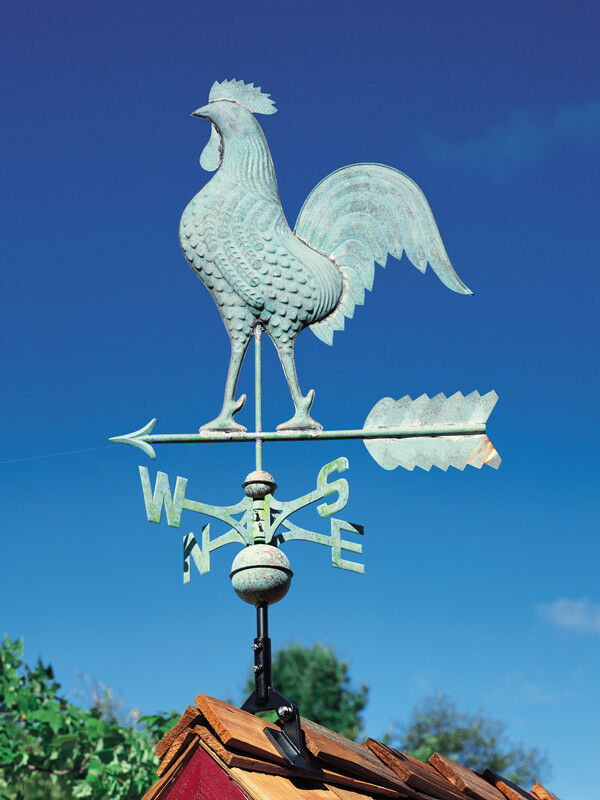 Rooster Weathervane Antique Blue Verde Chicken Vane With