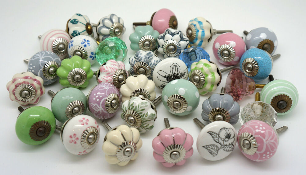 Attractive Vintage Ceramic Knobs By These Please Cupboard Door Draw Shabby Chic Handles  | EBay