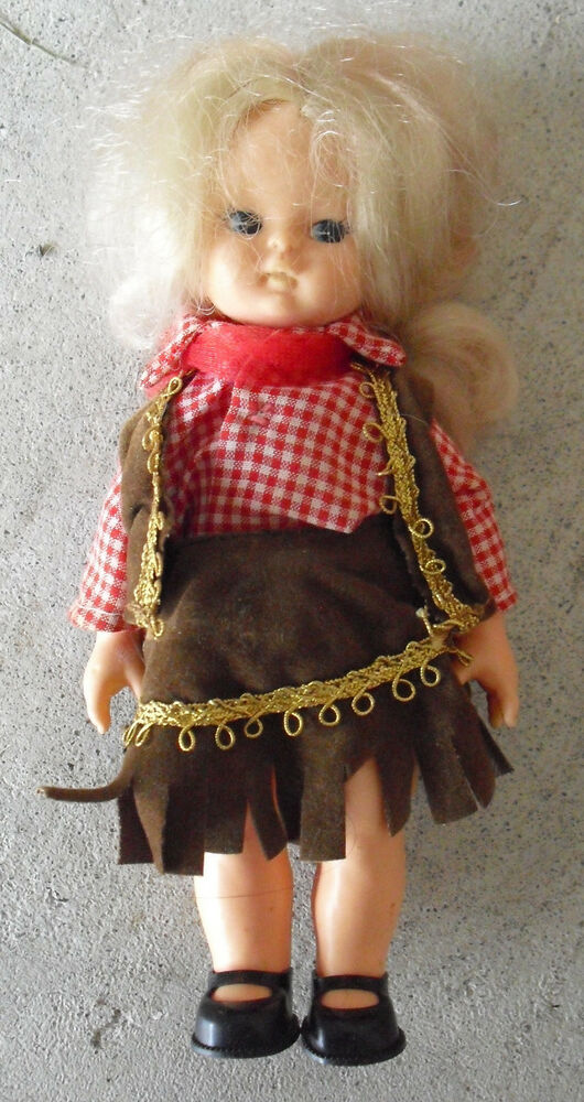 Vintage 1960s Plastic Blonde Cowgirl Character Girl Doll 6