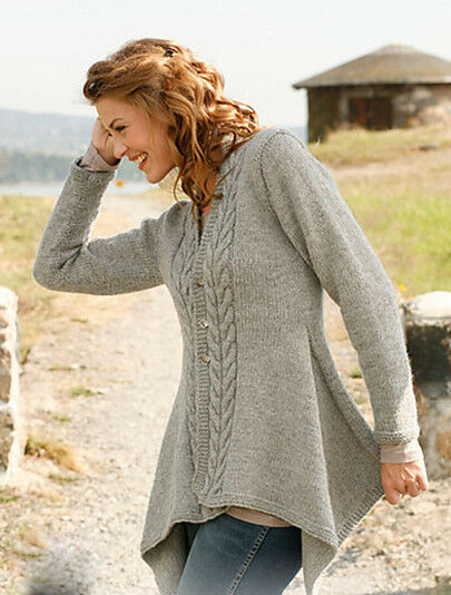 Womans Ladies Medieval Asymmetric Aran Cable Jacket Knitting Pattern ~ 30&quo...