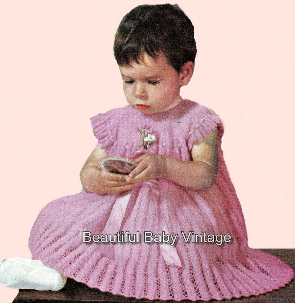 Knitting Patterns For Baby Dolls Clothes Old Style : Vintage Baby KNITTING PATTERN 1950s Lacey Baby Dress or Doll 50 cm 20 inch Ch...